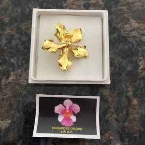 Jewelry - 24K Gold-Plated Orchid Flower (NEW)!